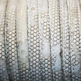 Cuero imitación serpiente beige 6mm se vende x cm