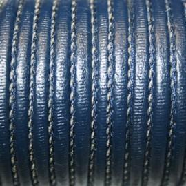 Cuero cosido azul marino 4mm