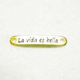 """Conector """"La vida es bella"""" dorado"""