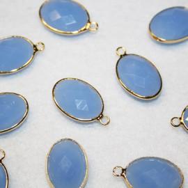 Colgante oval c/cristal azul opal