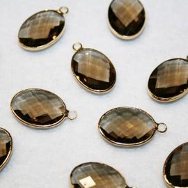 Colgante oval c/cristal marrón