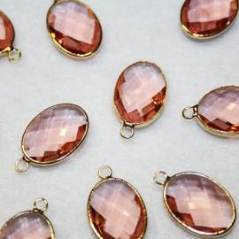 Colgante oval c/cristal rosa
