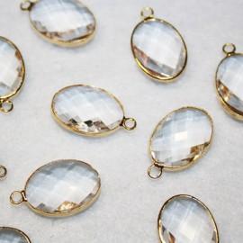 Colgante oval c/cristal transparente