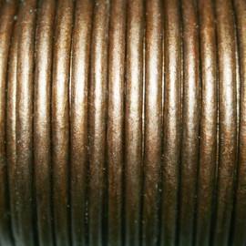 Cuero redondo 3mm metalizado