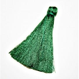 Pompón largo verde oscuro