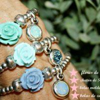 Flores de resina y bolas de zamak bañadas en plata