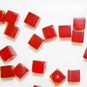 Cuenta cristal cubo grande rojo