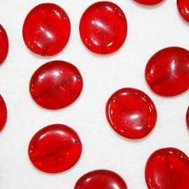 Cuenta cristal grande plano rojo