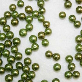 Perla sintética verde de 6mm