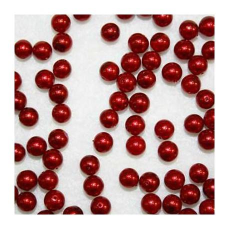 Perla sintética roja de 6mm