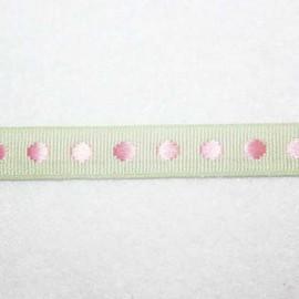 Cinta topos verde y rosa 10mm
