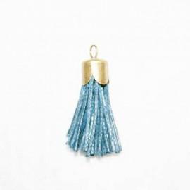 Borla azul marino con casquillo bronce