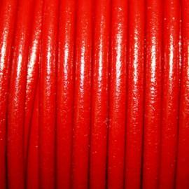 Cuero redondo 4mm rojo