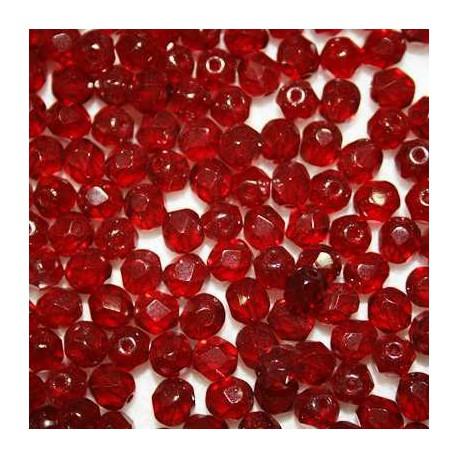 Cuenta cristal checa 6mm rojo