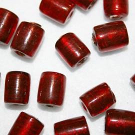 Cuenta cristal cilindro rojo