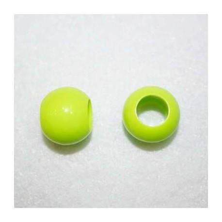 Cuenta acrílica verde fluor