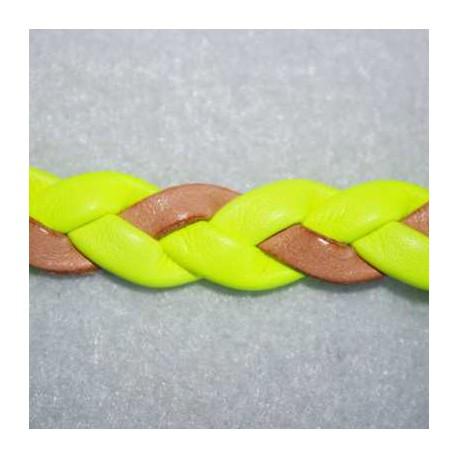 Cuero sintético trenzado amarillo fluor. Se vende x medios metros