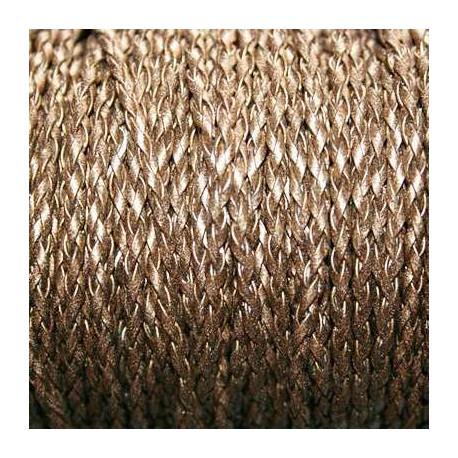 Cuero sintético trenzado 3mm bronce