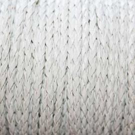 Cuero sintético trenzado 3mm blanco