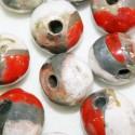 Ceramica Roja Dorada y Blanca