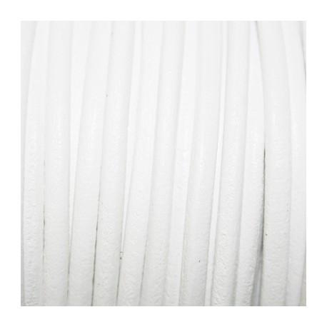Cuero redondo 4mm blanco