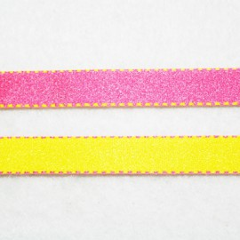 Cinta doble cara fucsia y amarillo 10mm