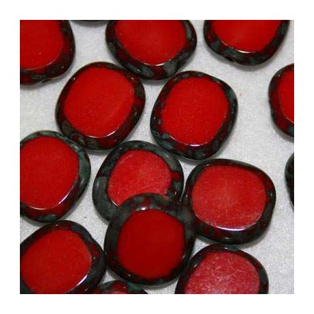 Cuenta de cristal plano rojo