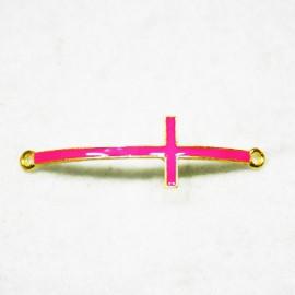 Conector cruz dorada con esmalte rosa fluor