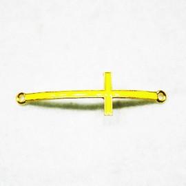 Conector cruz dorada con esmalte amarillo fluor