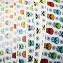 2- Cuero estampado 20mm Skulls of colors cortes de 20cm.