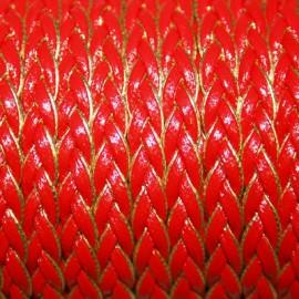 Cuero sintético trenzado plano rojo borde dorado