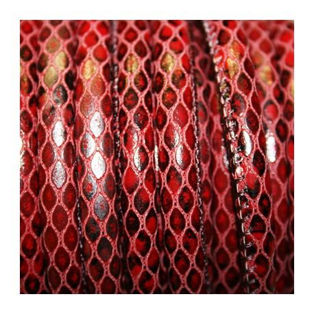 Cuero imitación serpiente rojo 6mm se vende x cm