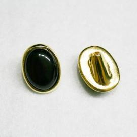 Cierre botón grande dorado negro