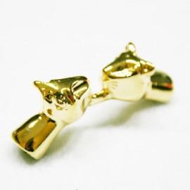 Felinos enfrentados dorados