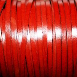 Cuero sintético plano 3mm rojo