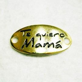 """Conector """"Te quiero mamá"""" dorado"""