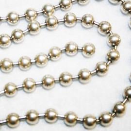 Cadena de bolas bañada en plata trozo de 52cm