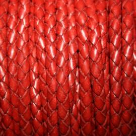 Cuero trenzado 5mm rojo x metro
