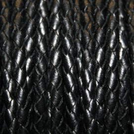 Cuero trenzado 5mm negro x cm