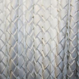 Cuero trenzado 5mm blanco x cm