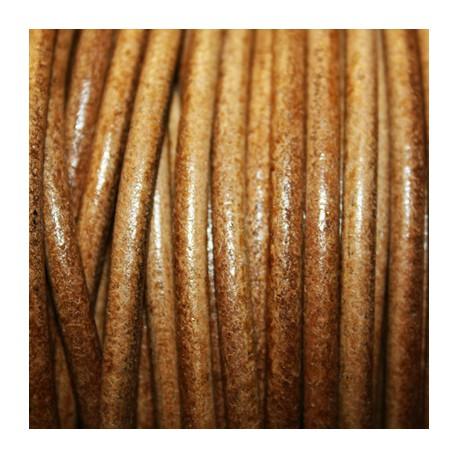 Cuero redondo 4mm nacional anilina camel