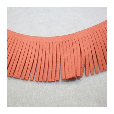 Cinta de antelina con flecos naranja 28mm