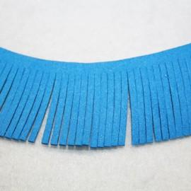 Cinta de antelina con flecos azul 28mm