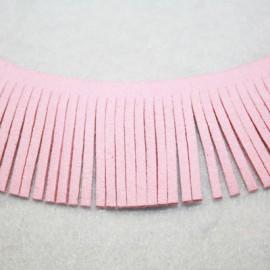 Cinta de antelina con flecos rosa 28mm