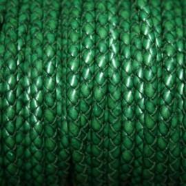 Cuero trenzado 5mm verde ingles x metro