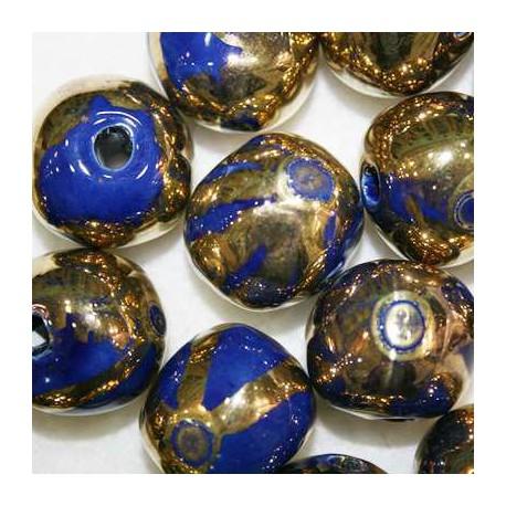 Ceramica Azul y Dorada