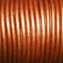 Cuero redondo 3mm metalizado cobre claro
