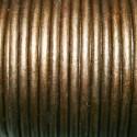 Cuero redondo 3mm metalizado bronce