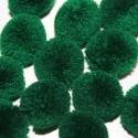 Pompón redondo verde oscuro grande