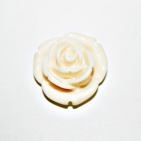 Rosa de resina mediana crema